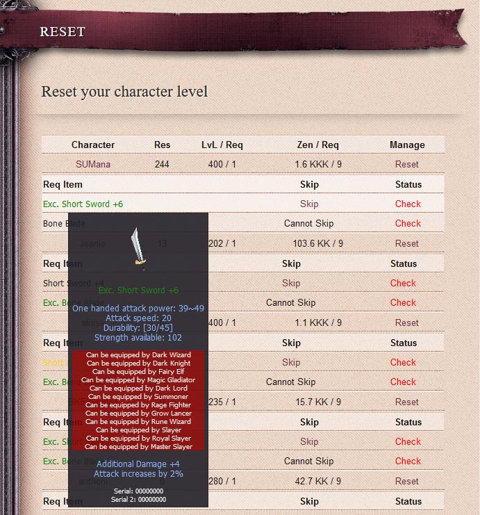 Advanced Reset Req Items